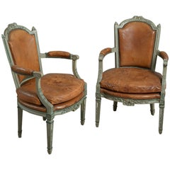 One of Three Pairs of Louis XVI Painted Armchairs