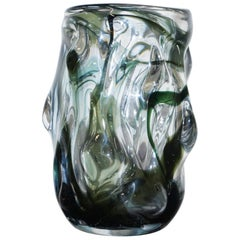 One of Three Stunning Murano Glass Vases with Ornately Crafted Bodies, Medium