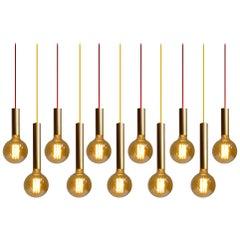One of Twelve Customizable Danish Modern Pendants Lights, Gold Brass Finish