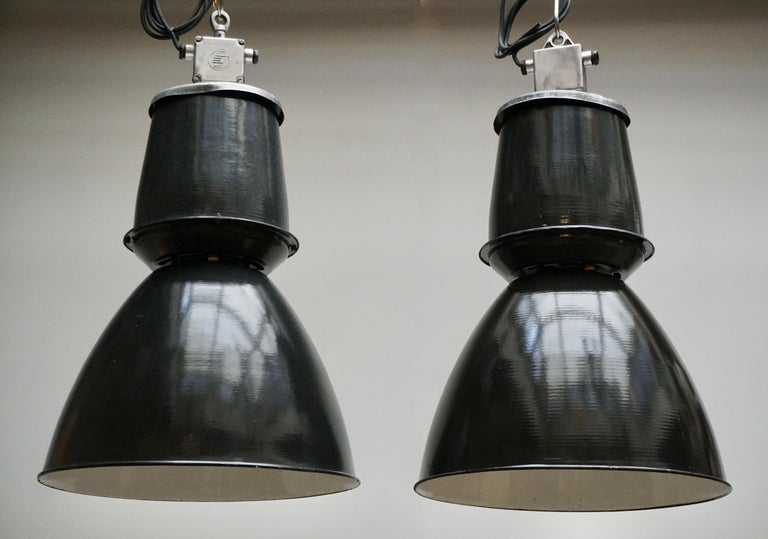 Metal One of Twenty-Four Giant Industrial Lights For Sale