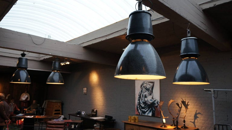 Enameled One of Twenty-Four Giant Industrial Lights For Sale