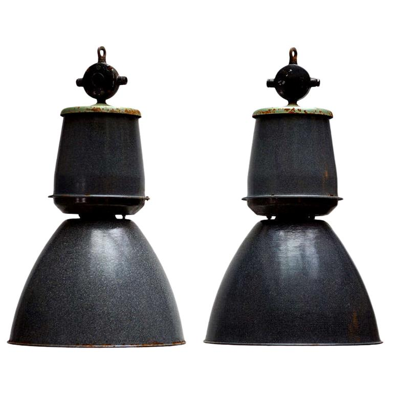 One of Twenty-Four Giant Industrial Lights For Sale