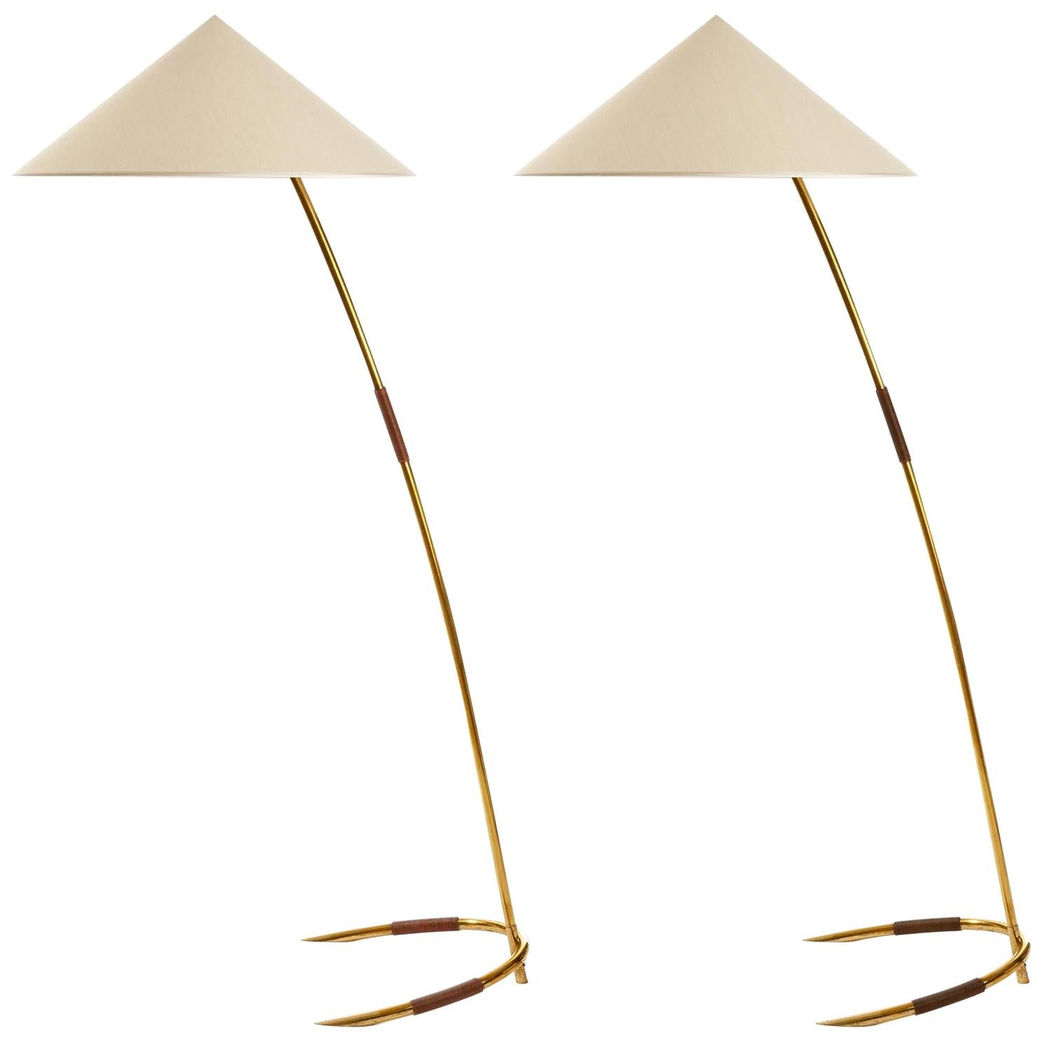 One of Two Brass Floor Lamps by Rupert Nikoll, Austria, 1960