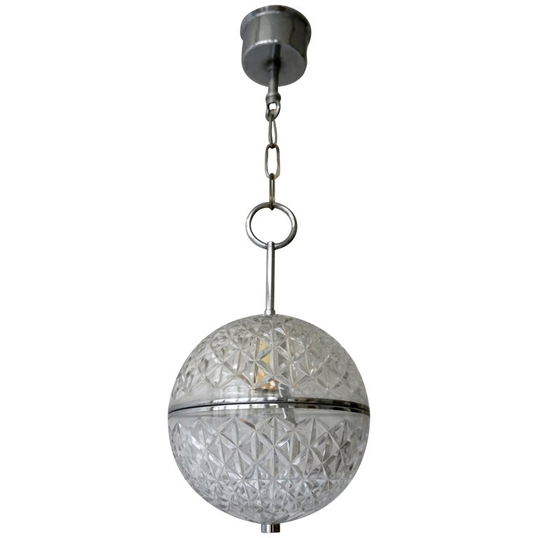 One of Two Crystal Glass and Brass Globe Pendant Lights For Sale