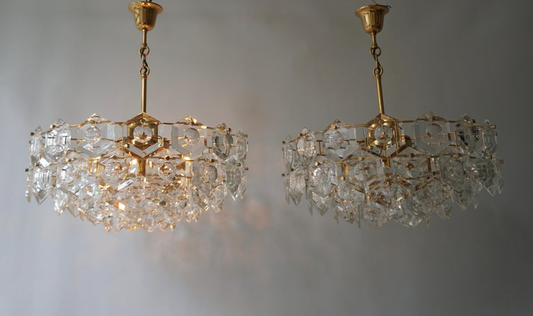 One of Two Gold-Plated Kinkeldey Crystal Chandelier, Germany, 1960s For Sale 4