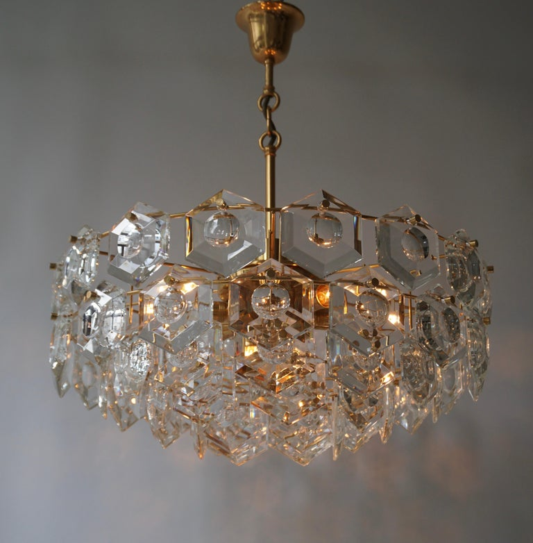 One of Two Gold-Plated Kinkeldey Crystal Chandelier, Germany, 1960s For Sale 5