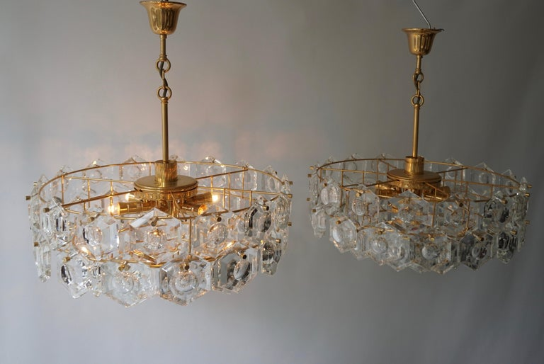 One of Two Gold-Plated Kinkeldey Crystal Chandelier, Germany, 1960s For Sale 6