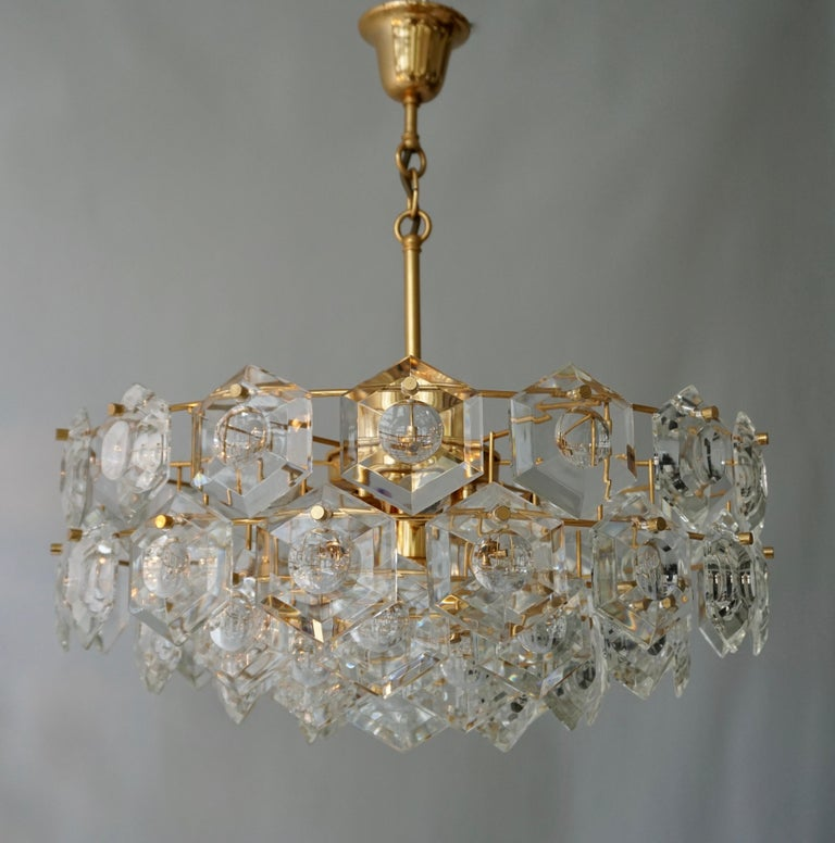 Hollywood Regency One of Two Gold-Plated Kinkeldey Crystal Chandelier, Germany, 1960s For Sale