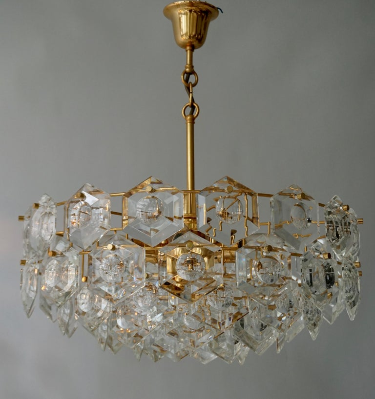 One of Two Gold-Plated Kinkeldey Crystal Chandelier, Germany, 1960s In Good Condition For Sale In Antwerp, BE