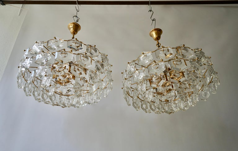 20th Century One of Two Gold-Plated Kinkeldey Crystal Chandelier, Germany, 1960s For Sale