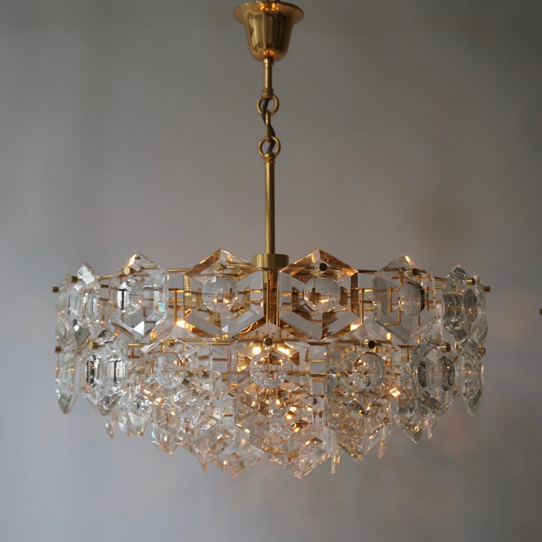 Brass One of Two Gold-Plated Kinkeldey Crystal Chandelier, Germany, 1960s For Sale