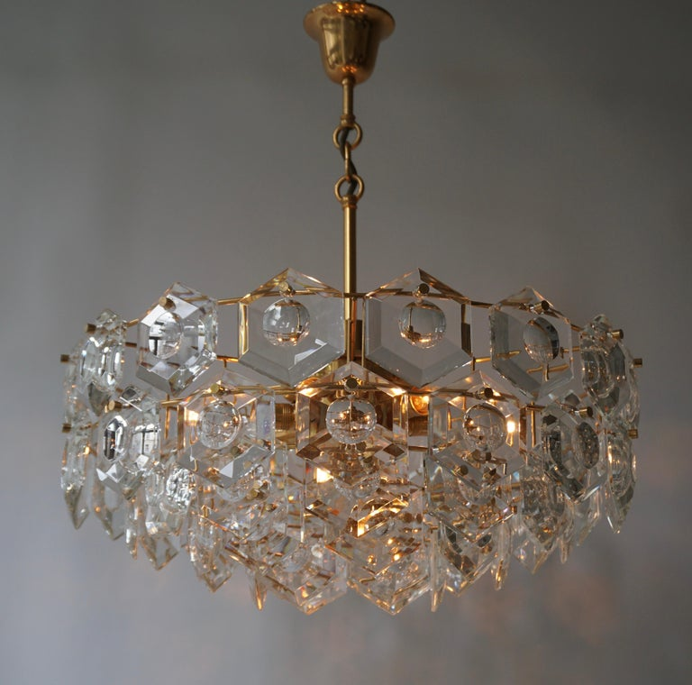 One of Two Gold-Plated Kinkeldey Crystal Chandelier, Germany, 1960s For Sale 1