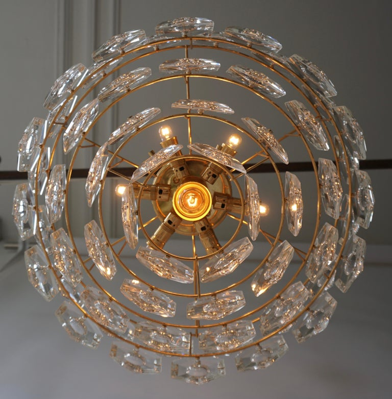 One of Two Gold-Plated Kinkeldey Crystal Chandelier, Germany, 1960s For Sale 2