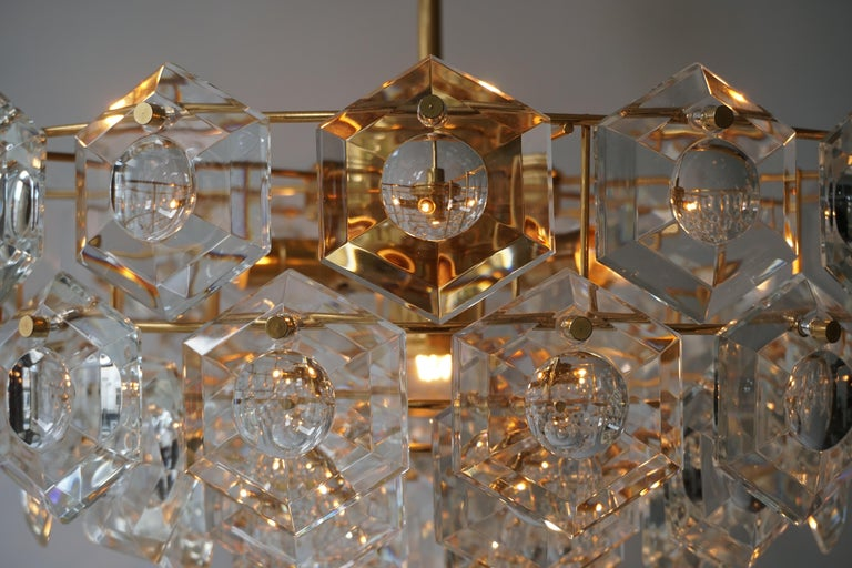 One of Two Gold-Plated Kinkeldey Crystal Chandelier, Germany, 1960s For Sale 3