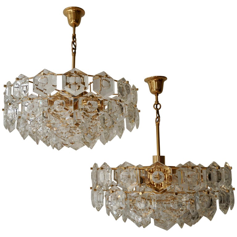 One of Two Gold-Plated Kinkeldey Crystal Chandelier, Germany, 1960s For Sale