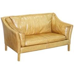One of Two Halo Reggio Tan Brown Leather Two-Seat Sofas