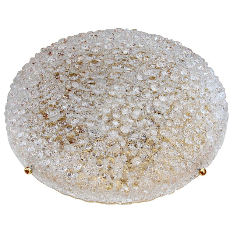One of Two Huge Textured Glass & Brass Flush Mount Lights by Hillebrand For Sale