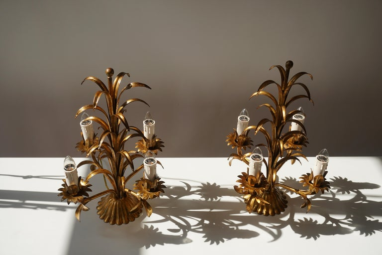 One of Two Italian Gilt Palm Tree Table Lamp, 1970s For Sale 4