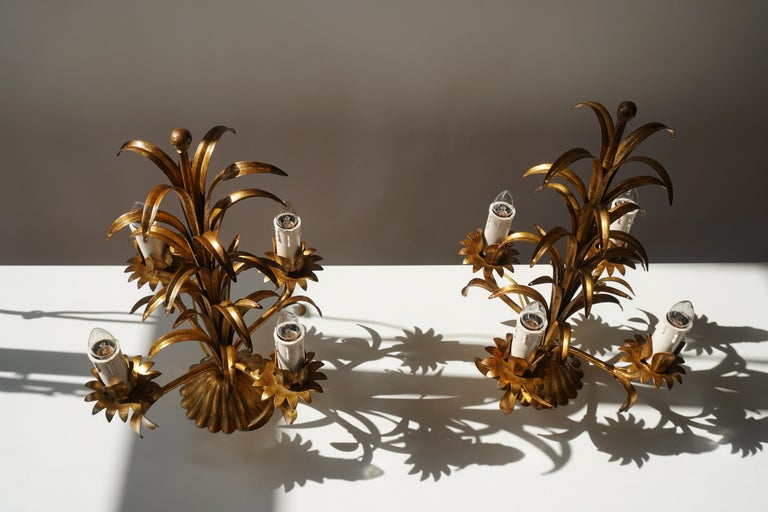 One of Two Italian Gilt Palm Tree Table Lamp, 1970s For Sale 5