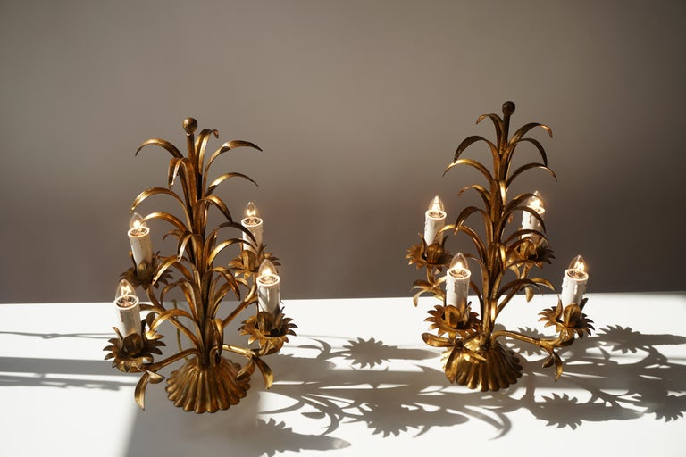 One of Two Italian Gilt Palm Tree Table Lamp, 1970s For Sale 6