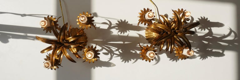 One of Two Italian Gilt Palm Tree Table Lamp, 1970s For Sale 7