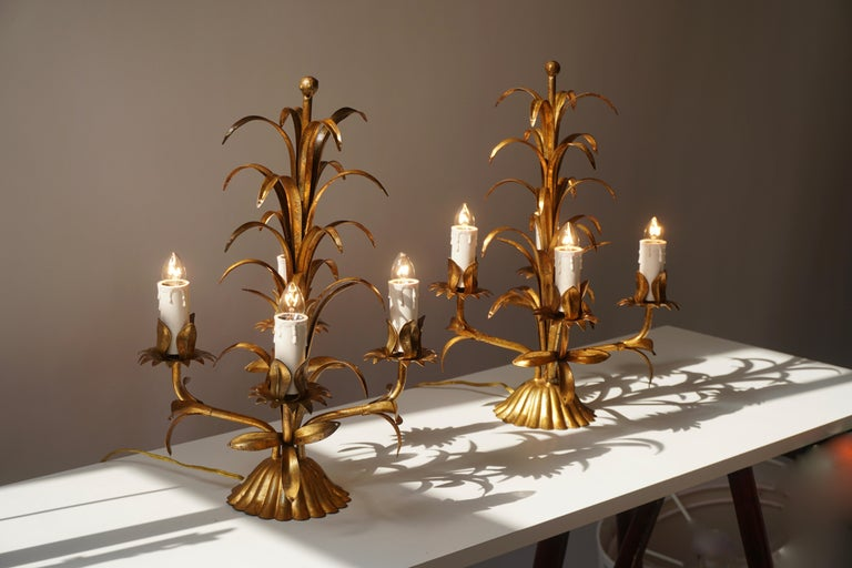 Hollywood Regency One of Two Italian Gilt Palm Tree Table Lamp, 1970s For Sale