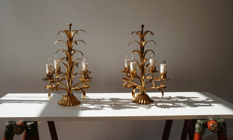 One of Two Italian Gilt Palm Tree Table Lamp, 1970s In Good Condition For Sale In Antwerp, BE