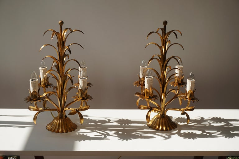 20th Century One of Two Italian Gilt Palm Tree Table Lamp, 1970s For Sale