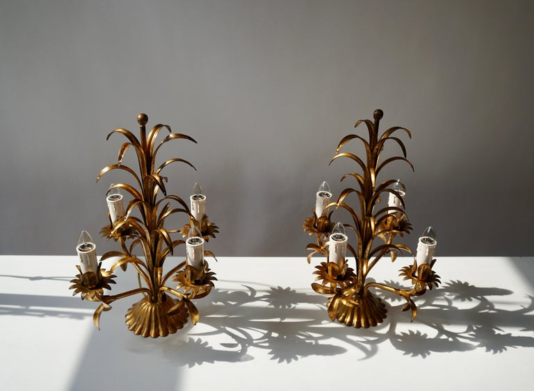 One of Two Italian Gilt Palm Tree Table Lamp, 1970s For Sale 1