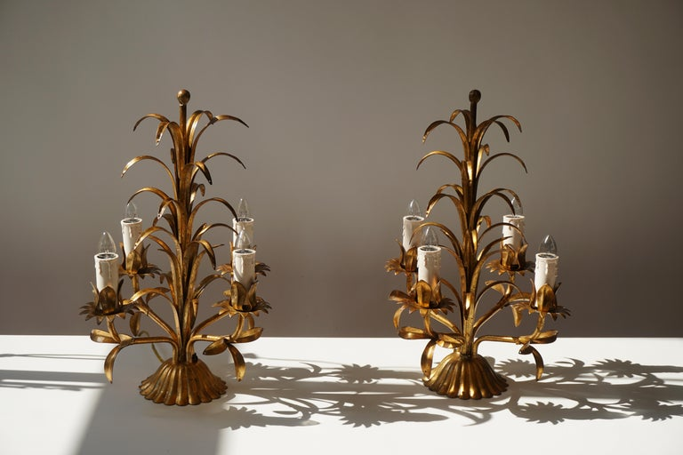 One of Two Italian Gilt Palm Tree Table Lamp, 1970s For Sale 2