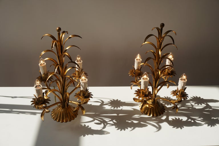 One of Two Italian Gilt Palm Tree Table Lamp, 1970s For Sale 3