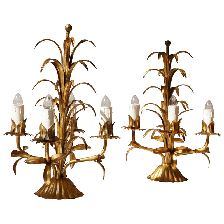 One of Two Italian Gilt Palm Tree Table Lamp, 1970s For Sale