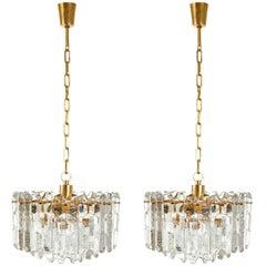 One of Two Kalmar Chandelier Pendant Lights 'Palazzo', Gilt Brass Glass, 1970