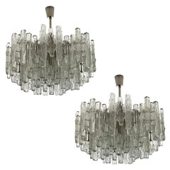One of Two Large Kalmar Chandeliers 'PUCK', Ice Glass and Nickel, Austria, 1970s