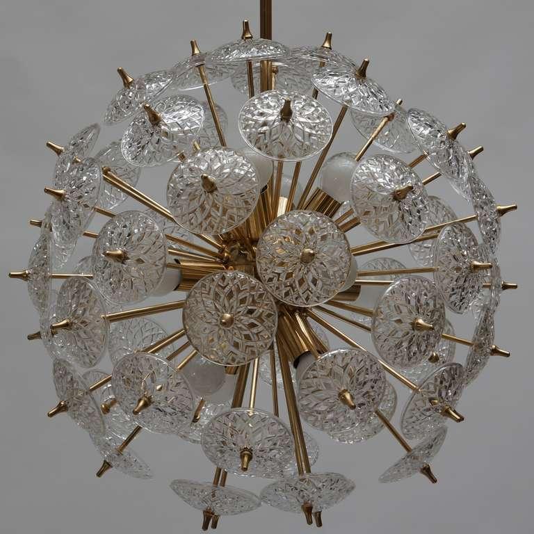 Mid-Century Modern One of Two Large Modernist Flower Sputnik Chandeliers For Sale