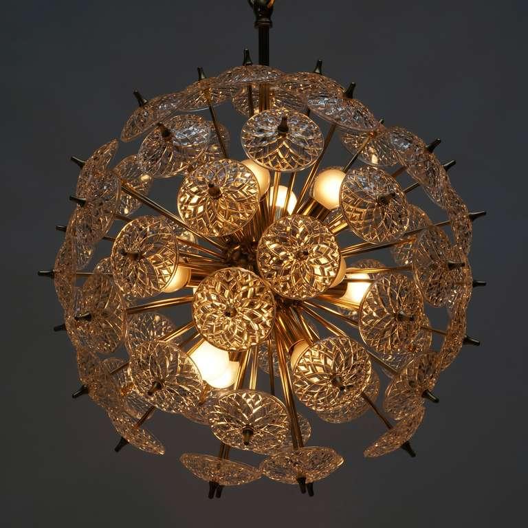 Italian One of Two Large Modernist Flower Sputnik Chandeliers For Sale