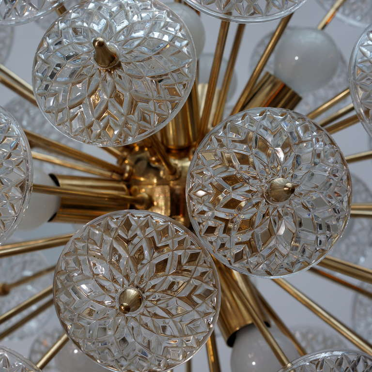 Late 20th Century One of Two Large Modernist Flower Sputnik Chandeliers For Sale