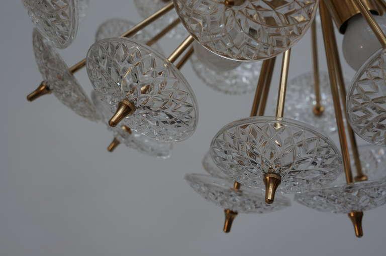 Brass One of Two Large Modernist Flower Sputnik Chandeliers For Sale