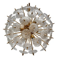 One of Two Large Modernist Flower Sputnik Chandeliers
