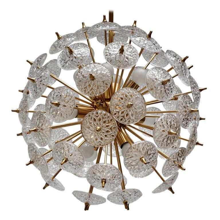 One of Two Large Modernist Flower Sputnik Chandeliers For Sale