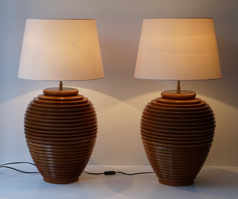 One of Two Large Wooden Table or Floor Lamps, Birma For Sale 8