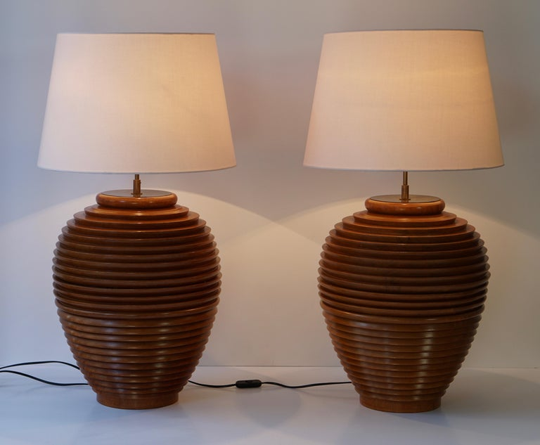 20th Century One of Two Large Wooden Table or Floor Lamps, Birma For Sale