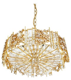One of Two Refurbished Gold Brass Crystal Glass Chandeliers Palwa, Germany, 1960