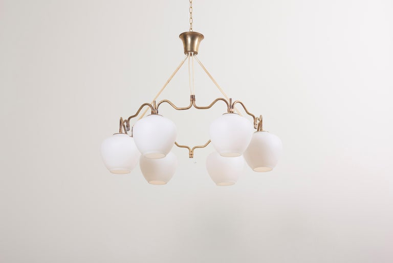 Scandinavian Modern One of Two Six Shade Chandelier by Bent Karlby for Lyfa, Denmark, 1950s For Sale