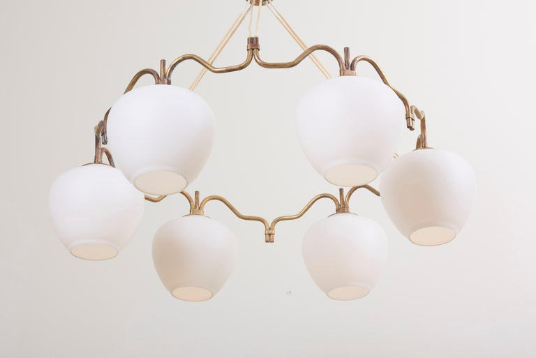 Danish Six Shade Chandelier by Bent Karlby for Lyfa, Denmark, 1950s For Sale