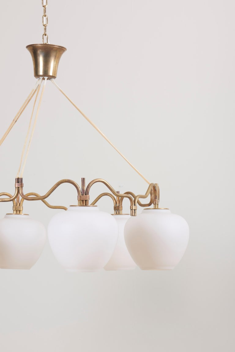One of Two Six Shade Chandelier by Bent Karlby for Lyfa, Denmark, 1950s In Excellent Condition For Sale In Berlin, DE
