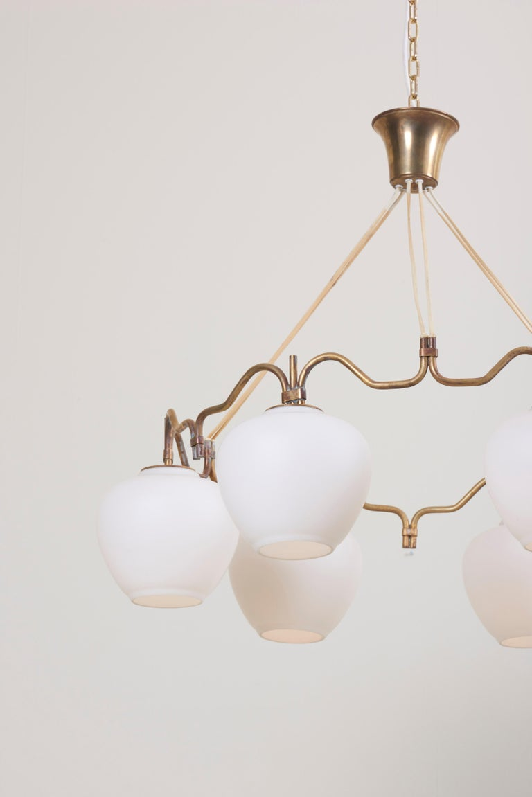 Mid-20th Century Six Shade Chandelier by Bent Karlby for Lyfa, Denmark, 1950s For Sale