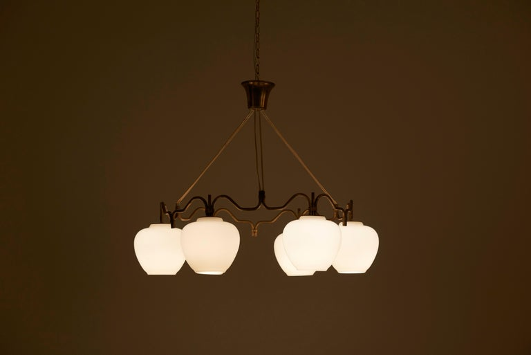 One of Two Six Shade Chandelier by Bent Karlby for Lyfa, Denmark, 1950s For Sale 2