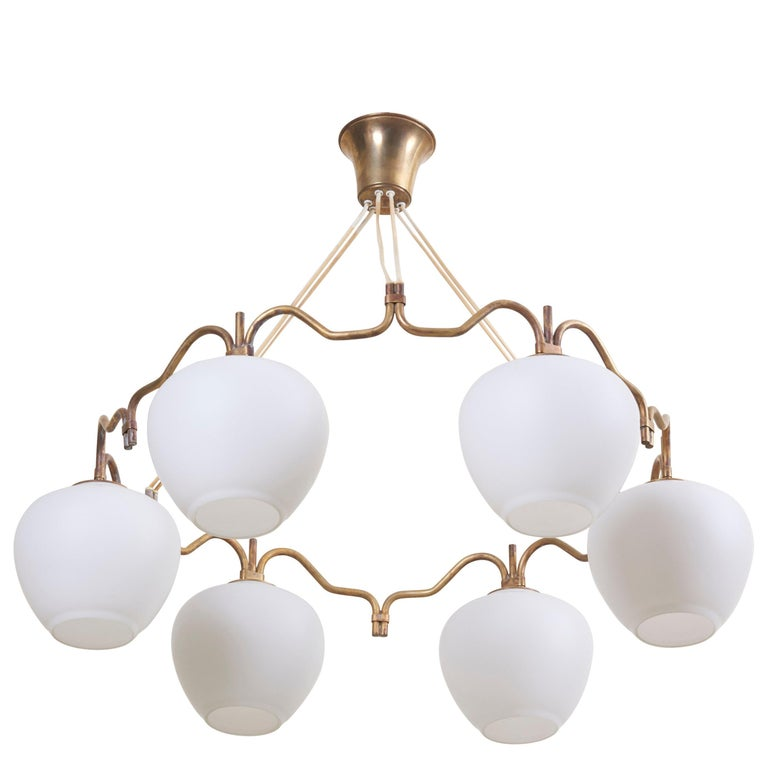 One of Two Six Shade Chandelier by Bent Karlby for Lyfa, Denmark, 1950s For Sale