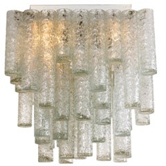 One of Two Square Flushmount Chandeliers from Doria, 1960s